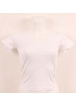 T-shirt femme blanc col style en V