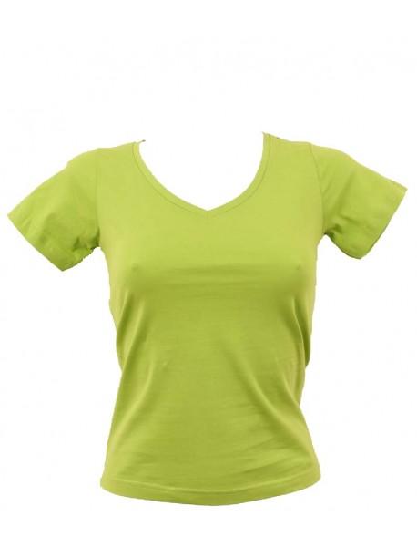 T-shirt femme vert col en V