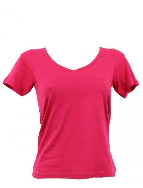 T-shirt femme fuchsia col en V