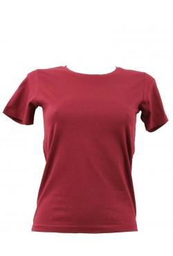 T-shirt femme bordeaux col rond