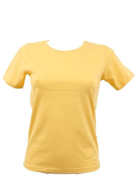 T-shirt femme jaune col rond