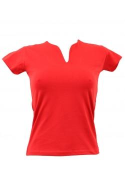 T-shirt femme rouge col grand V