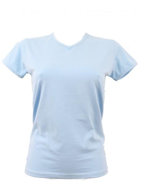 T-shirt femme ciel col court V