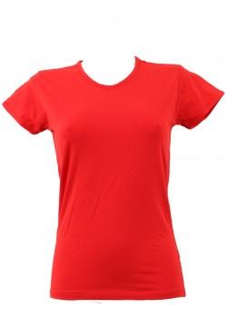 T-shirt femme rouge col court V