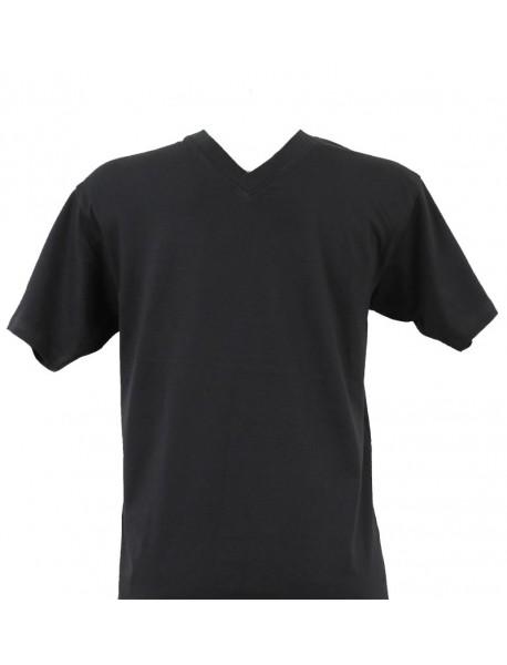 T-shirt homme bleu marine col V