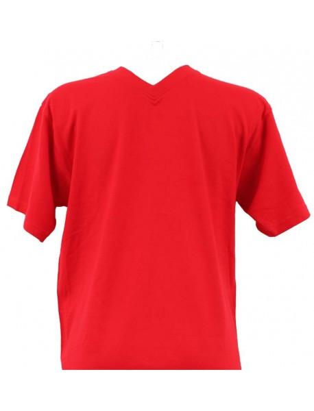 T-shirt homme rouge col V