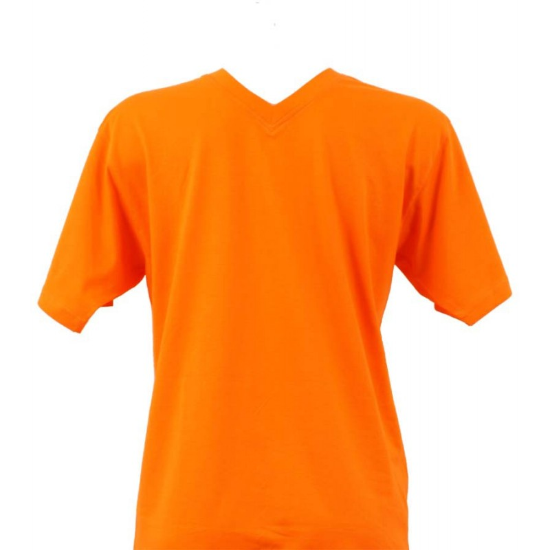 t shirt homme orange col v. Black Bedroom Furniture Sets. Home Design Ideas