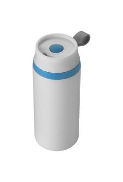Bidon Isotherme Garanti Anti-Fuite Flow Blanc Bleu