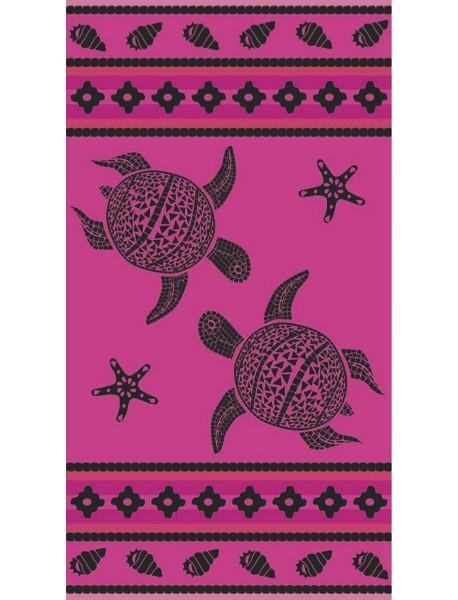 Serviette de plage Fuchsia Mosaic Turtle