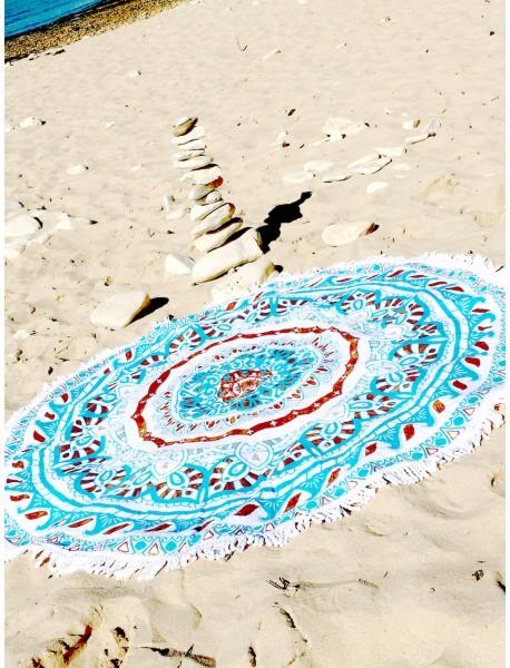 Serviette de plage ronde Wayan Ilhu