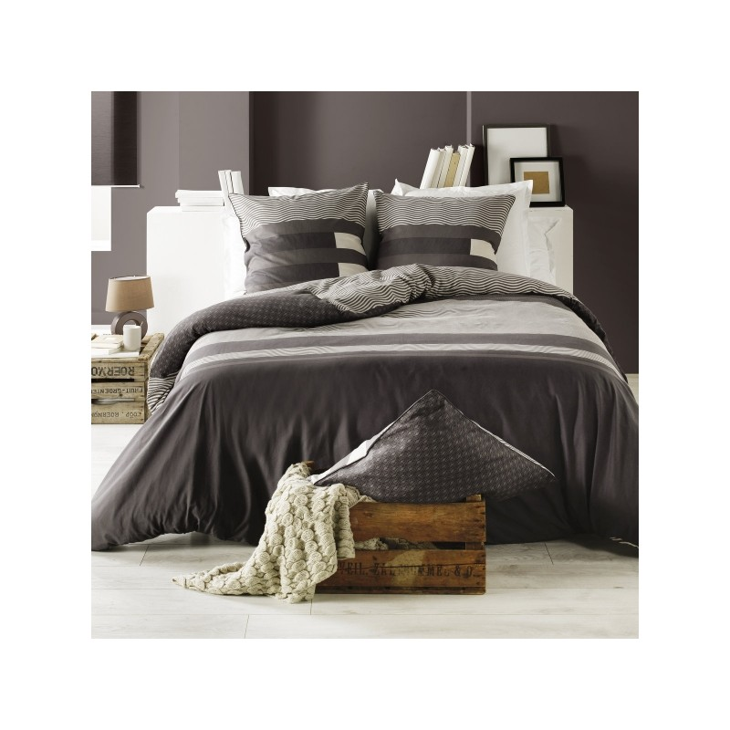 housse de couette taie kea taupe. Black Bedroom Furniture Sets. Home Design Ideas